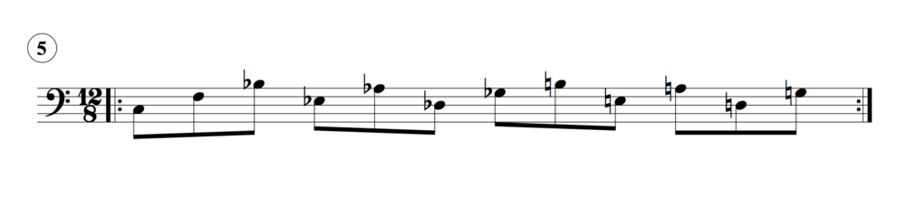 Example fingering for this could be: 5-2-1; 4-2-5; 3-1-4; 2-5-1