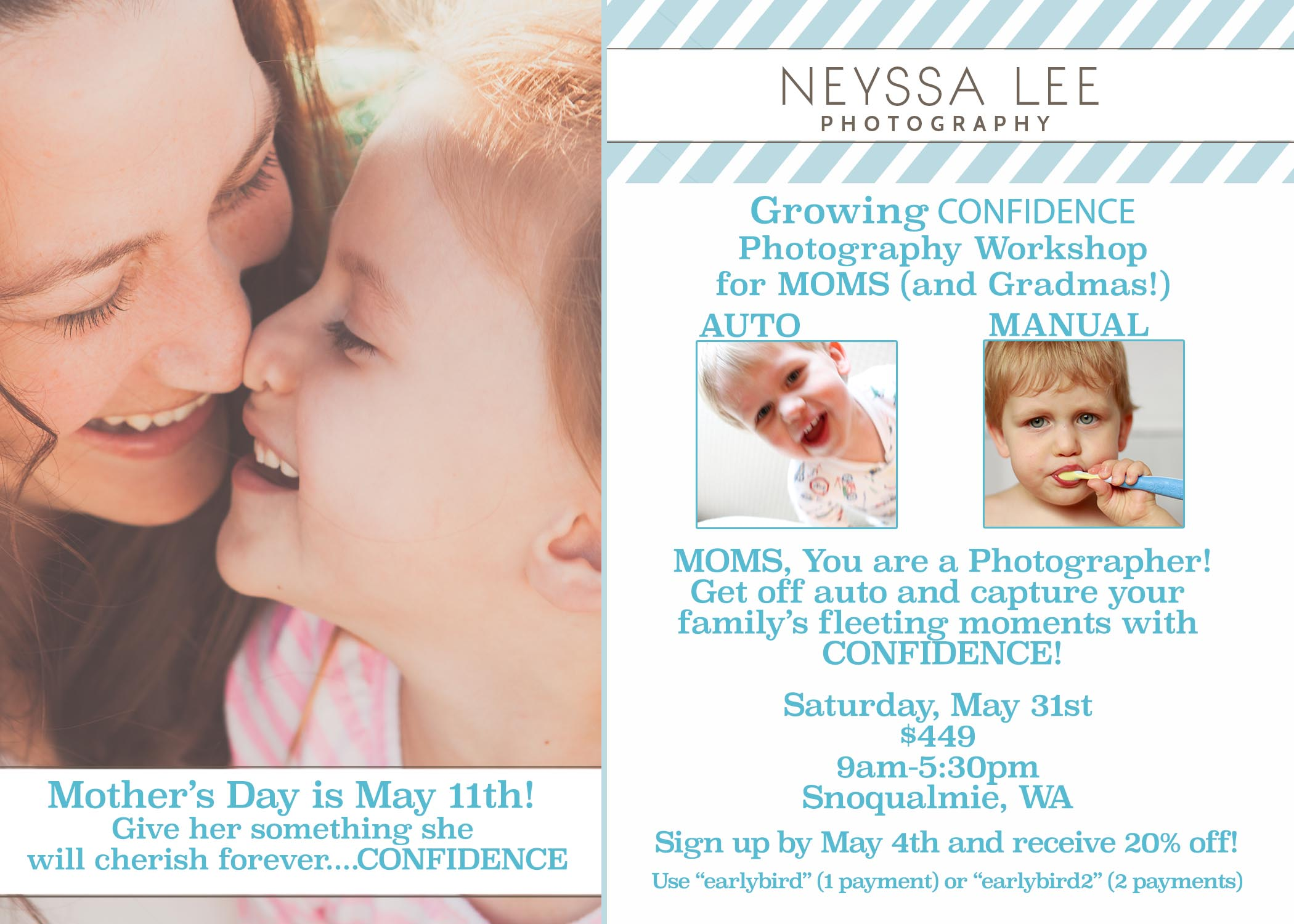 Gift for mom, Mother's Day Gift She will Cherish, Snoqualmie Photography Workshop