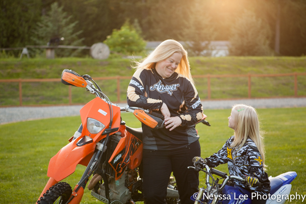 Goats and motorcycles in family photos, mom and daughter on motorcycles