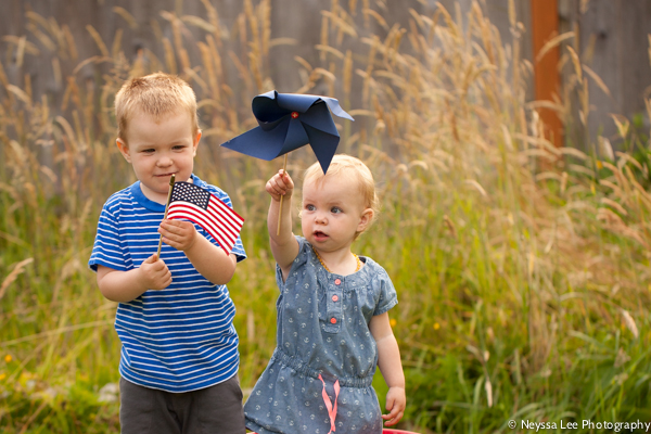 happy 4th of July, boy with flag