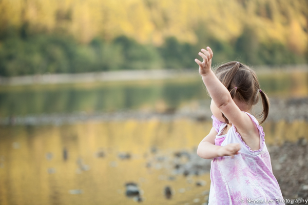 Photos of big sister to be, father and daughter, throwing rocks