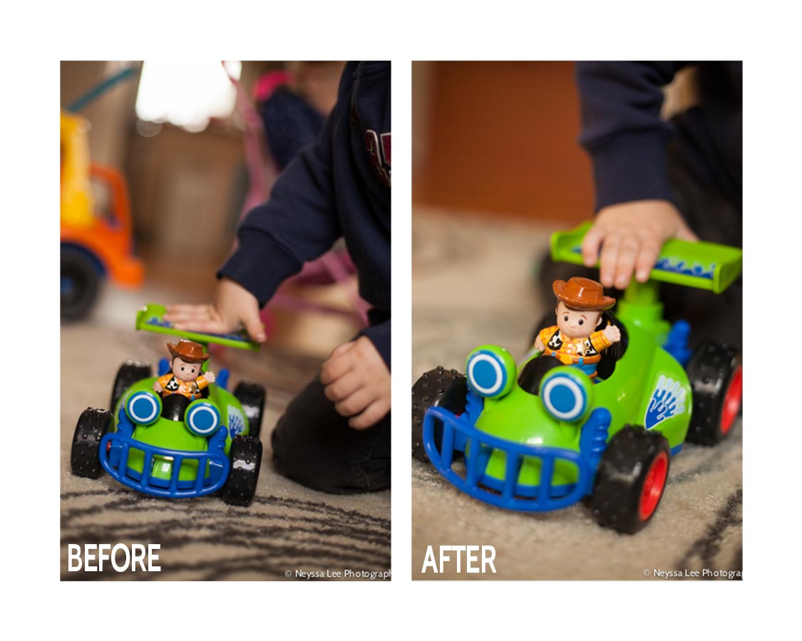 Photo tips for photographing a favorite toy, Toddler boy with toy car