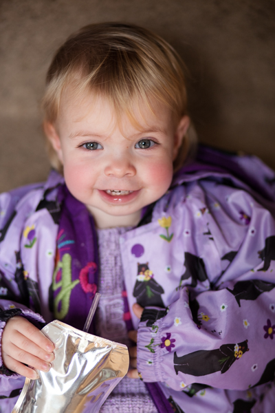 Photos of her favorite color, toddler in purple