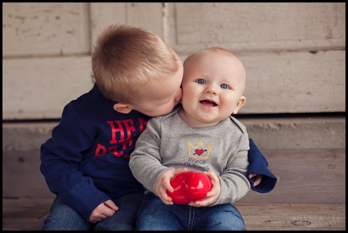 Photos of Little Valentines, Valentines Mini Session, Baby Boy, Toddler Boy, Sweet Sibling Photo, Sibling kissing photo