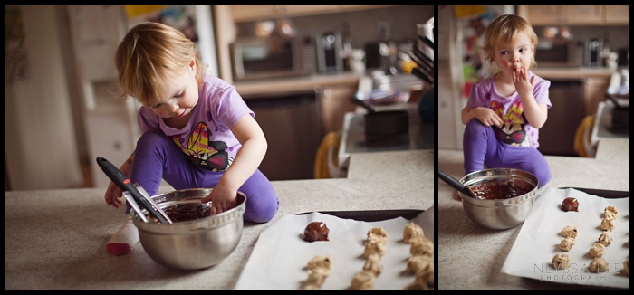 Vegan Chocolate Chip Cookie Dough Truffles, Baking with toddlers