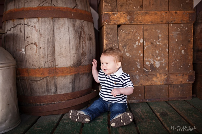 Photos of Brotherly Love, one year old boy, wagon used in photo