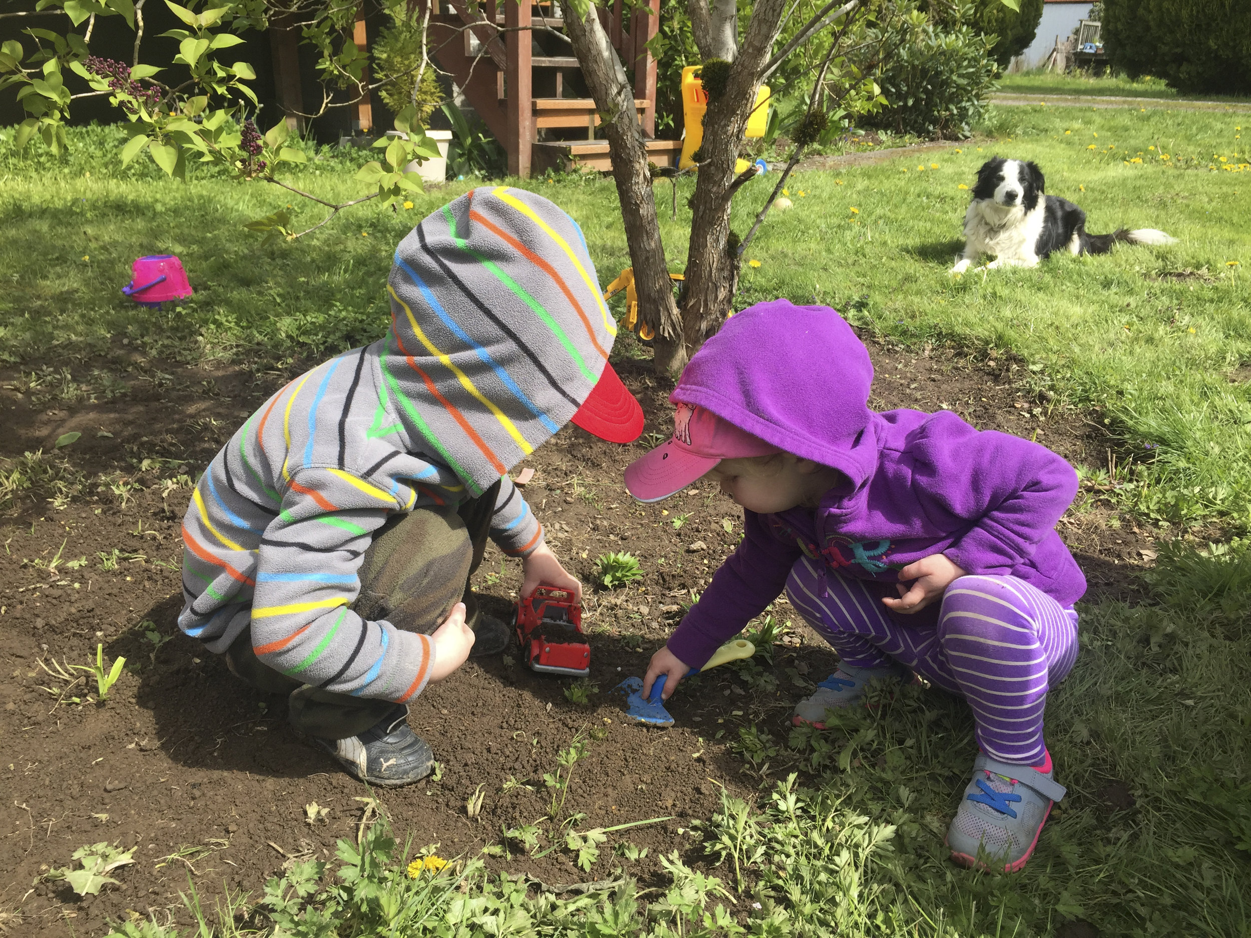 adjusting to 3 kids,  instagram photo, kids playin in dirt