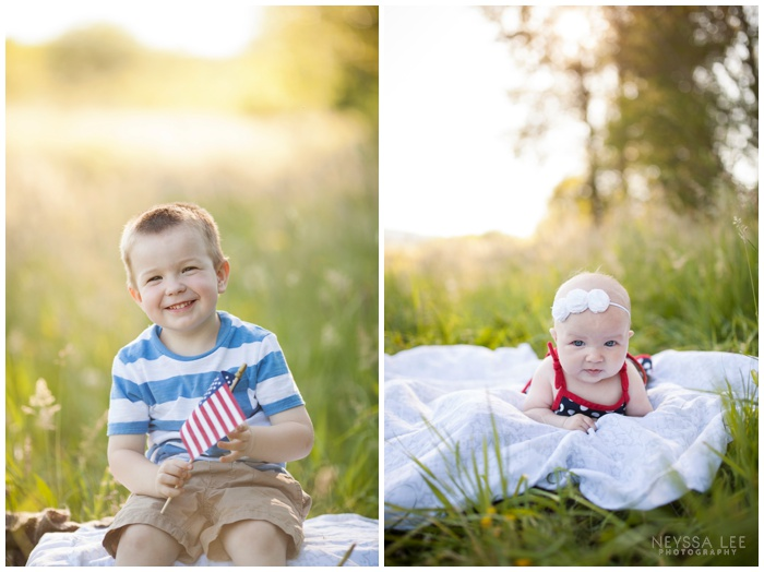 4th of July Mini Sessions, Flag, Young Boy in field
