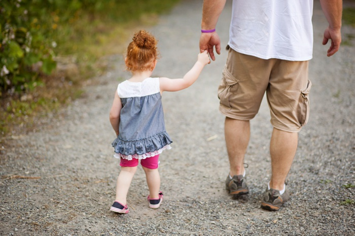 pediatric stroke warrior, Toddler girl, walking with dad