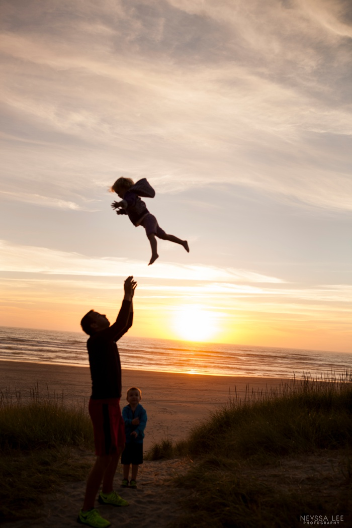 Silhoutte, Flying into the air, sunset beach with kids