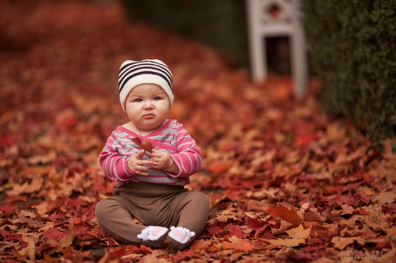 7 Months Old, Baby girl, Fall Leaves
