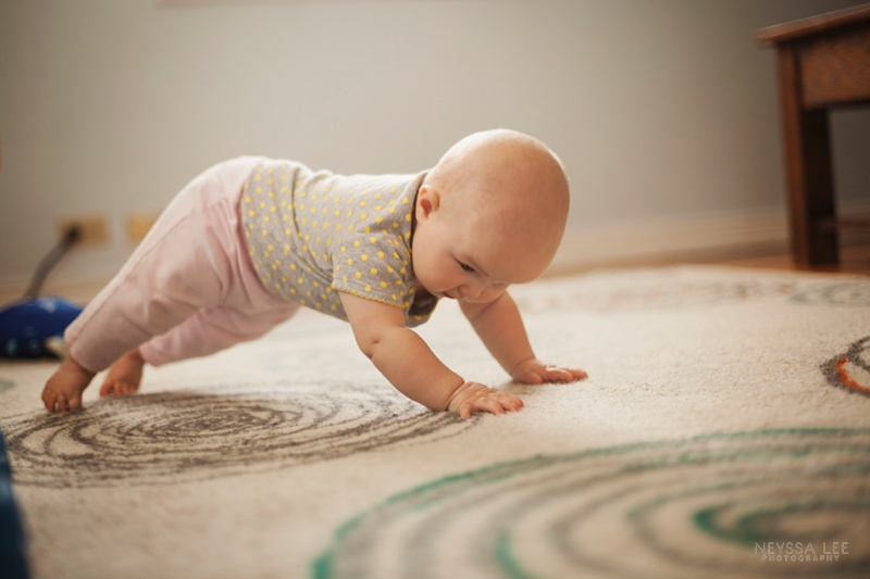 7 month old baby girl, trying to crawl
