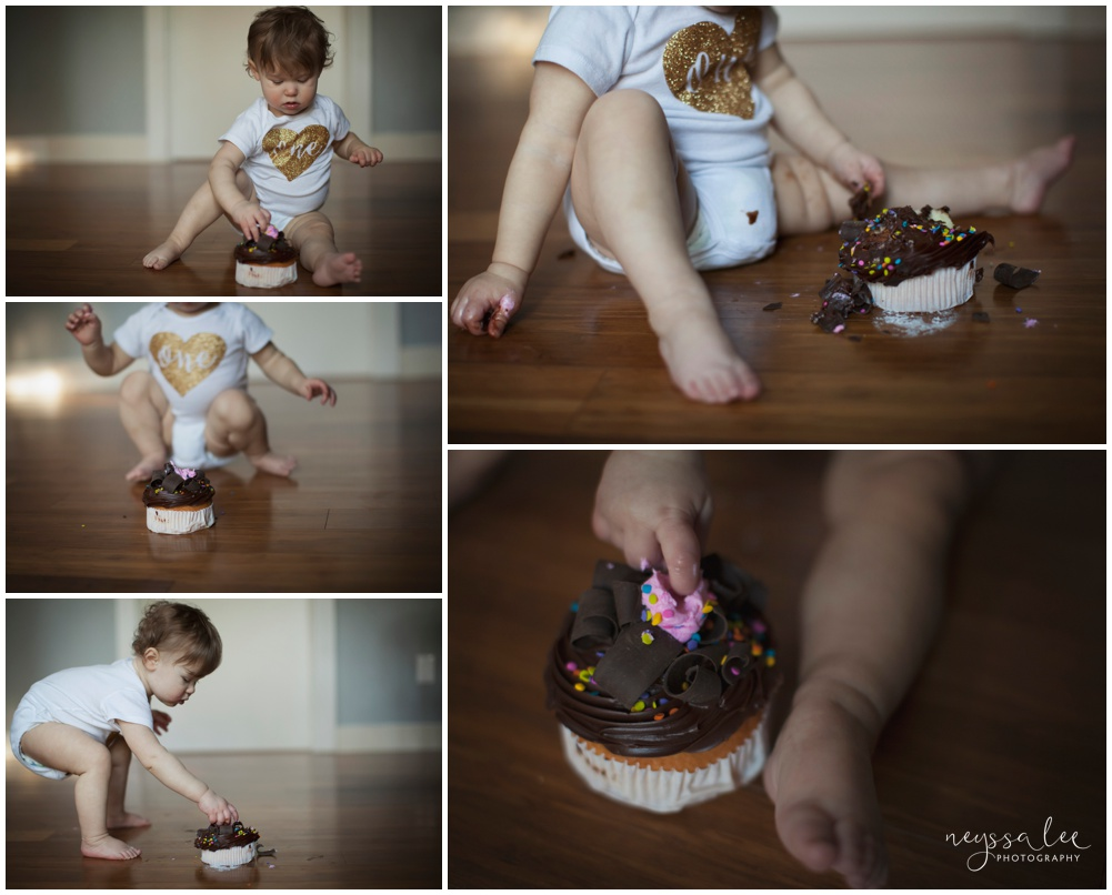 Photos of a one year old girl, cake smash photos