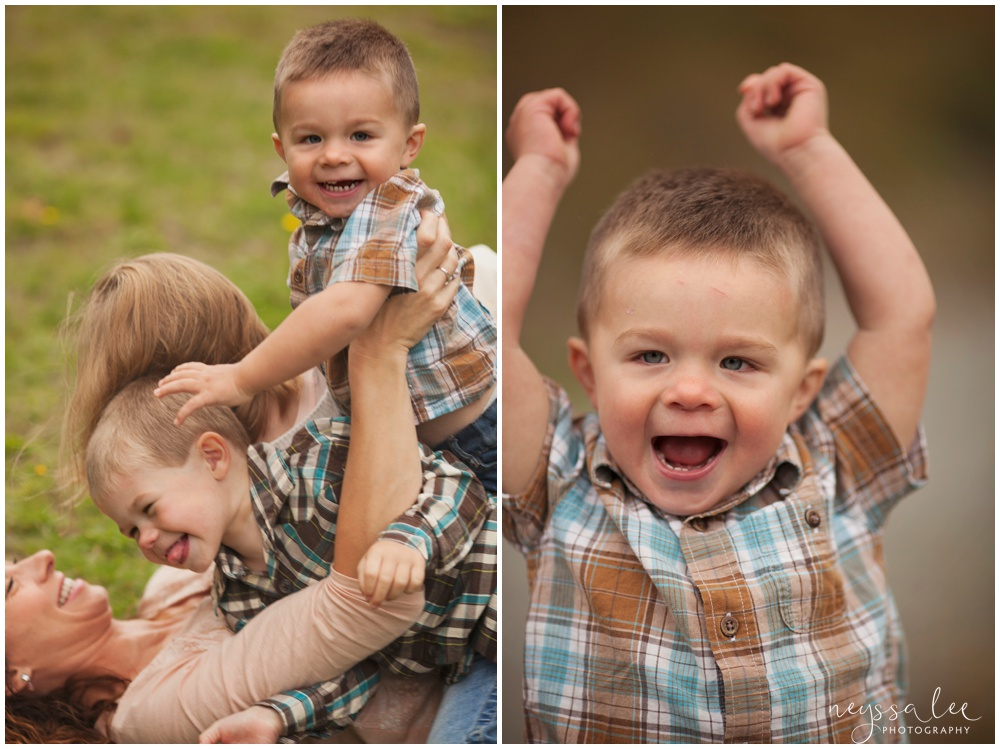 Snuggles, tackles and playful family photos, Snoqualmie family photographer, Family of 5,  Adorable toddler boy
