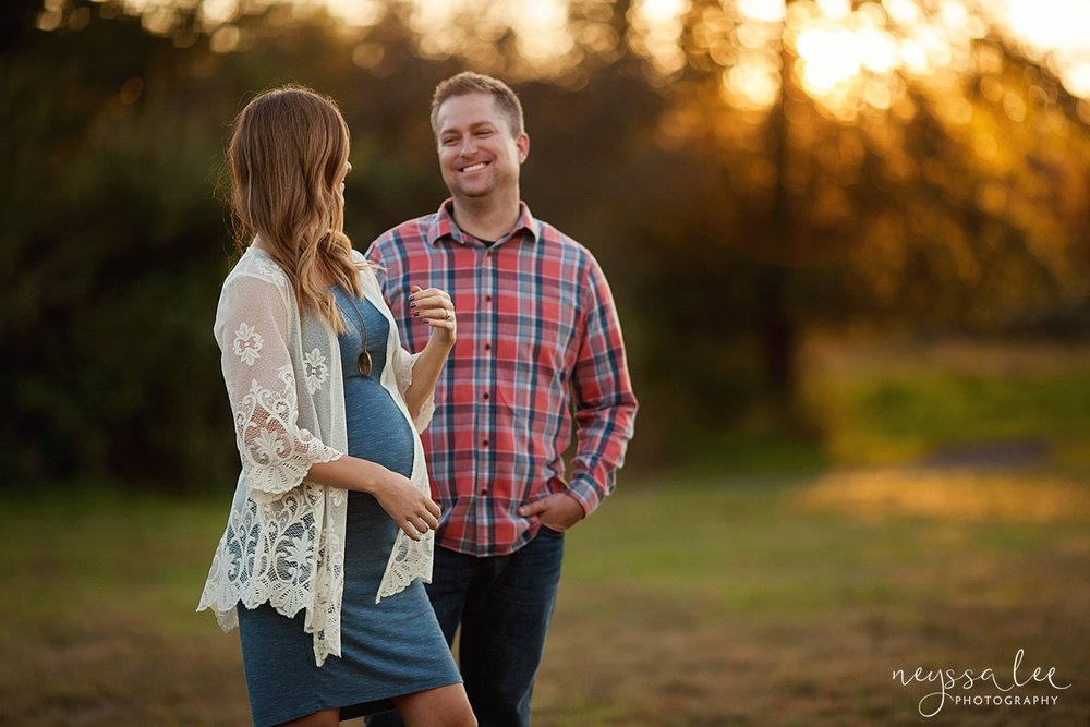 Neyssa Lee Photography Snoqualmie maternity photographer expecting couple laughing