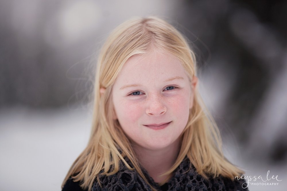 Neyssa Lee Photography, Snoqualmie Family Photographer, Family photos in the snow, classic girl portrait in the snow