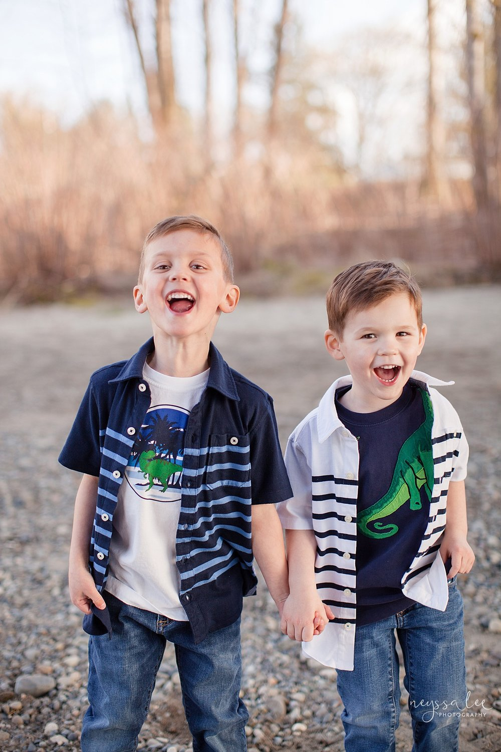 Family Photos by the River at Sunset, Neyssa Lee Photography, Snoqualmie Family Photography, Brothers laughing together