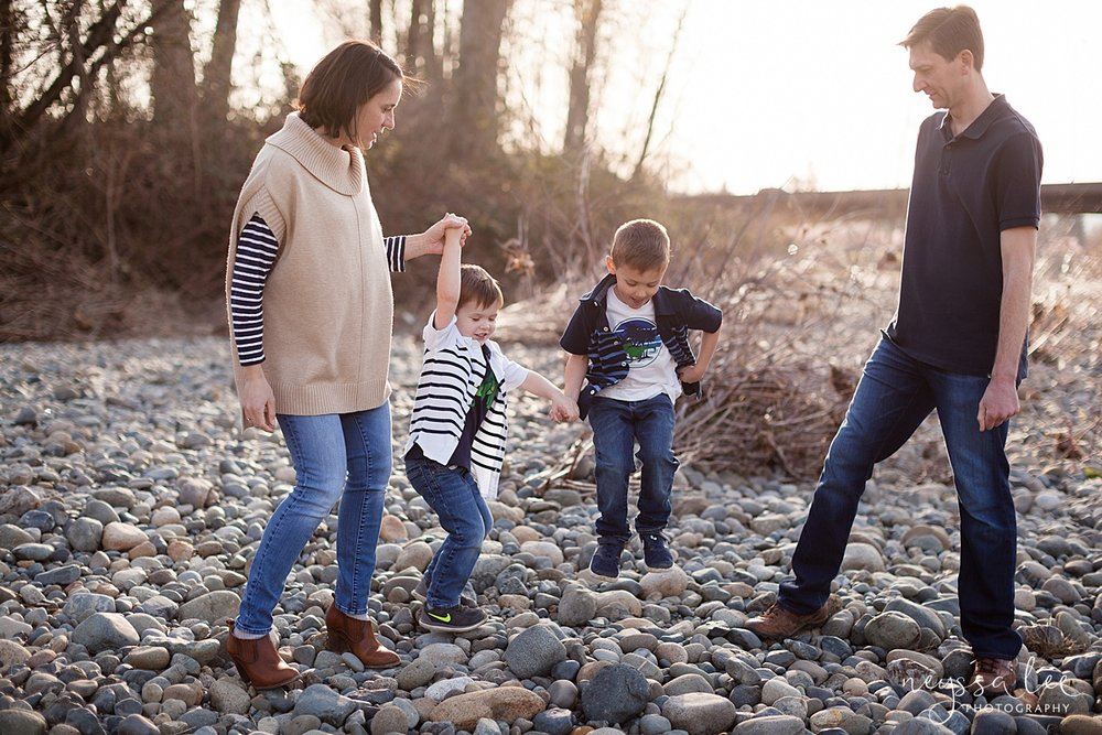 Family Photos by the River at Sunset, Neyssa Lee Photography, Snoqualmie Family Photography, Family of Four dancing together