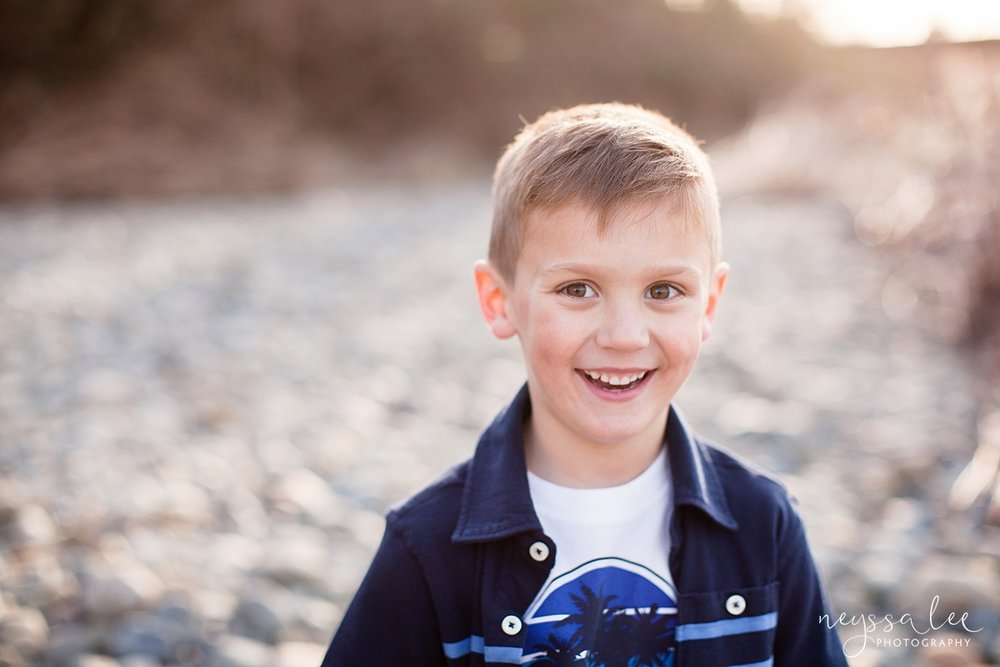 Family Photos by the River at Sunset, Neyssa Lee Photography, Snoqualmie Family Photography, Portrait of a boy with beautiful backlight