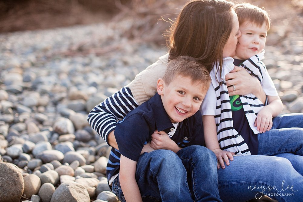 Family Photos by the River at Sunset, Neyssa Lee Photography, Snoqualmie Family Photography, Family of Four, mom and sons
