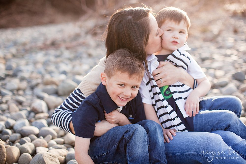 Family Photos by the River at Sunset, Neyssa Lee Photography, Snoqualmie Family Photography, Family of Four, Mom and her boys