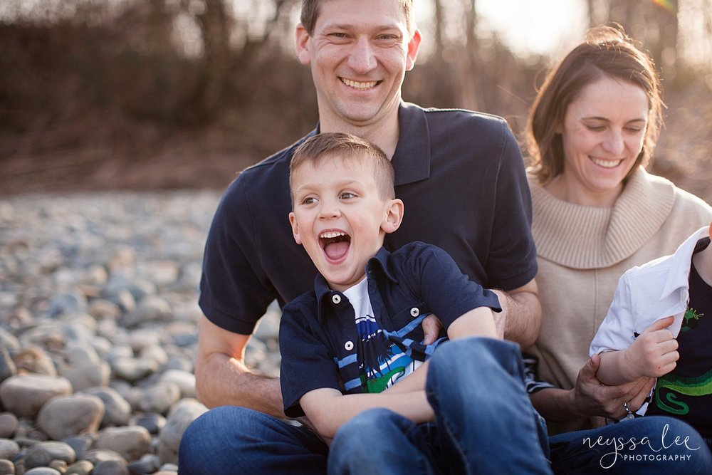 Family Photos by the River at Sunset, Neyssa Lee Photography, Snoqualmie Family Photography, dad tickles son