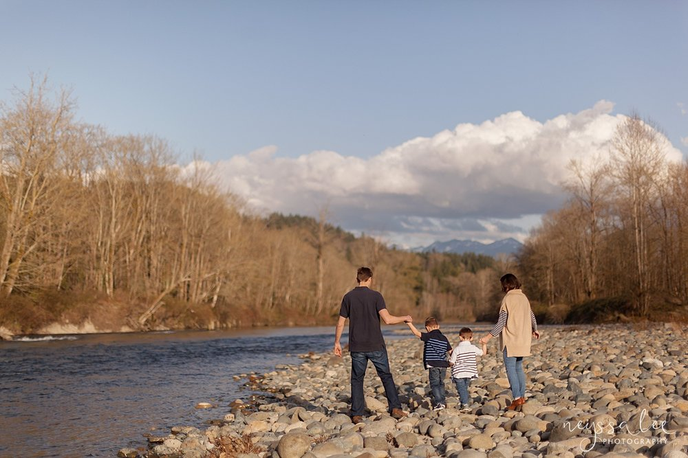 Family Photos by the River at Sunset, Neyssa Lee Photography, Snoqualmie Family Photography, Family of Four walks along the river