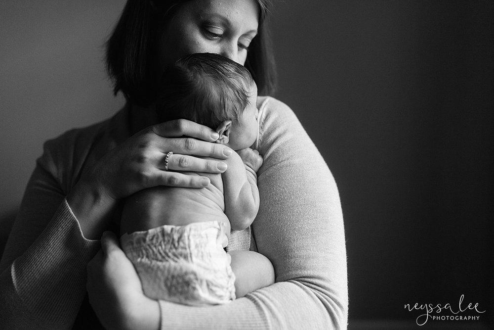 Neyssa Lee Photography, Awake newborn baby boy, lifestyle newborn photography, Seattle newborn photographer, sweet mother son photo