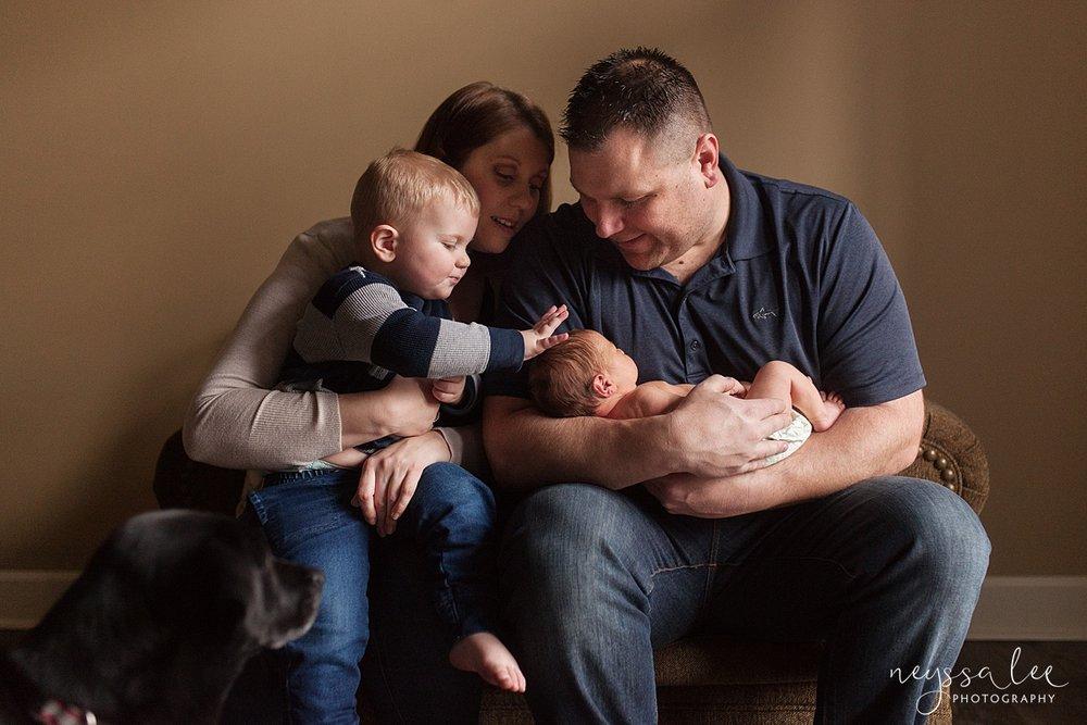 Neyssa Lee Photography, Awake newborn baby boy, lifestyle newborn photography, Seattle newborn photographer, family with toddler and newborn baby
