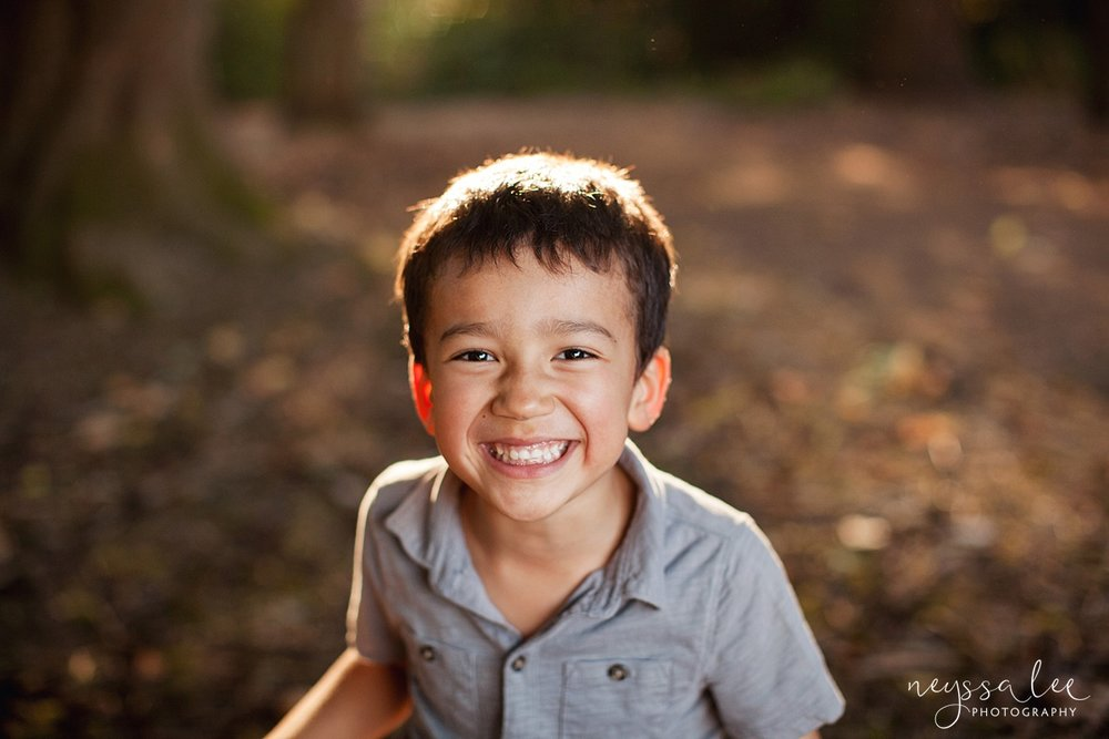 Neyssa Lee Photography, Seattle Family Photography, Family photos in the woods, family photos by the water, portrait of a boy in beautiful light