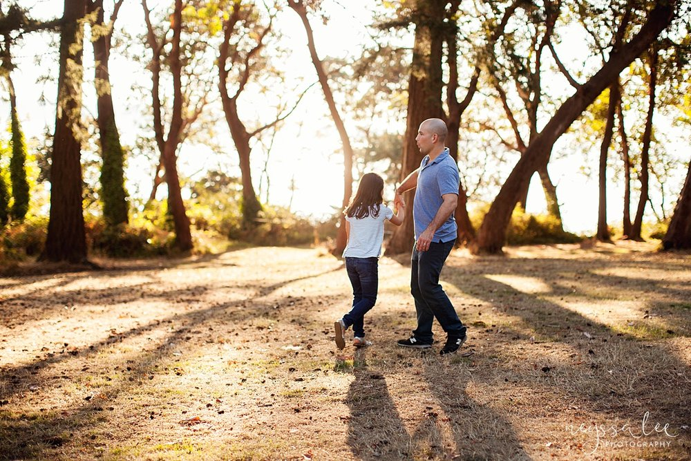 Neyssa Lee Photography, Seattle Family Photography, Family photos in the woods, family photos by the water, father daughter dance