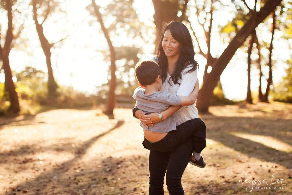 Neyssa Lee Photography, Seattle Family Photography, Family photos in the woods, family photos by the water, mother and son spin together