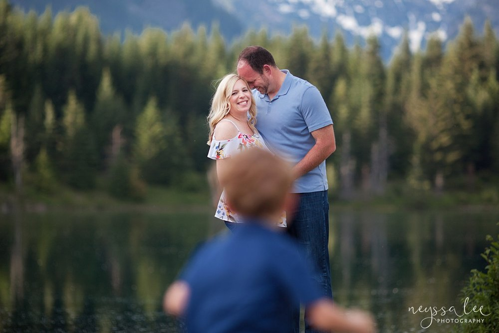 Maternity Photos in the Mountains, Gold Creek Pond, Neyssa Lee Photography, Snoqualmie Family Photographer, Boy runs to mom and dad