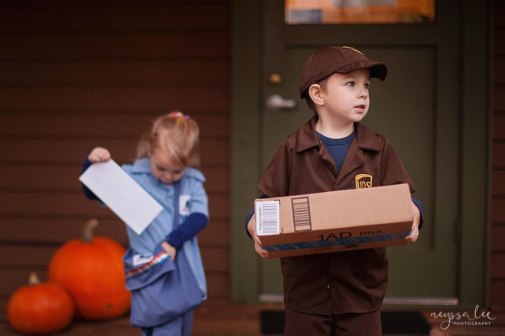5 Tips for Magical Halloween Photos, Photo Tips, Neyssa Lee Photography, UPS Driver Costume, Mailman Costume