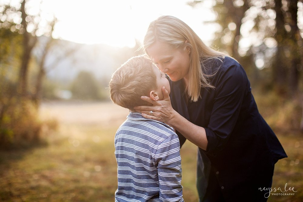 Snoqualmie Family Photographer, Neyssa Lee Photography, Fall Family Photos, Change of perspective on family photos, mother and son in beautiful light