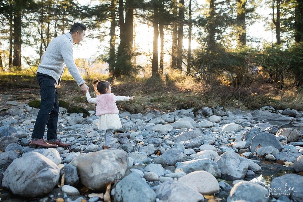 Neyssa Lee Photography, Seattle Lifestyle Family Photographer,  Photo of father and daughter walking by the river