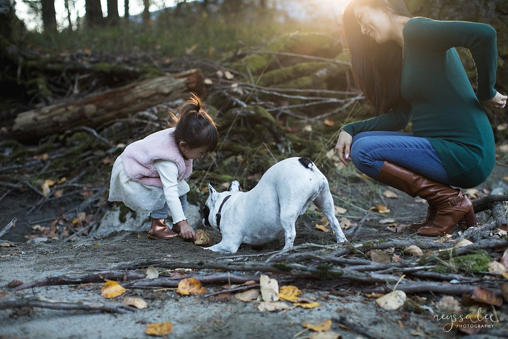 Neyssa Lee Photography, Seattle Lifestyle Family Photographer,  Photo of girl and her dog digging in the dirt with mom watching nearby in beautiful light