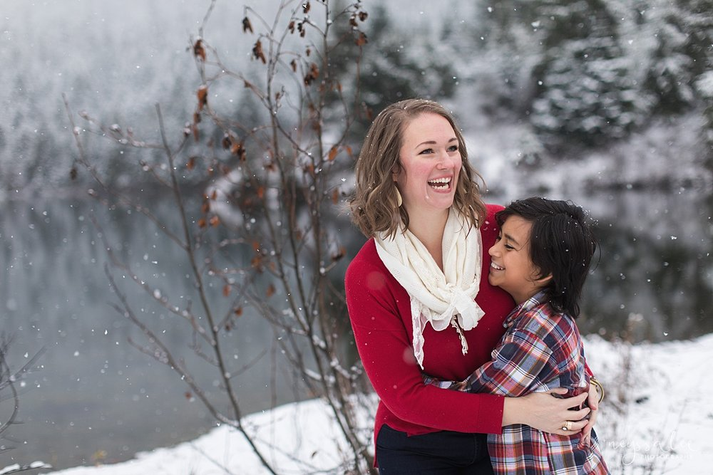 Moms Need to Get in the Photo, Neyssa Lee Photography, Seattle Family Photographer, Mother and Son embracing in the snow