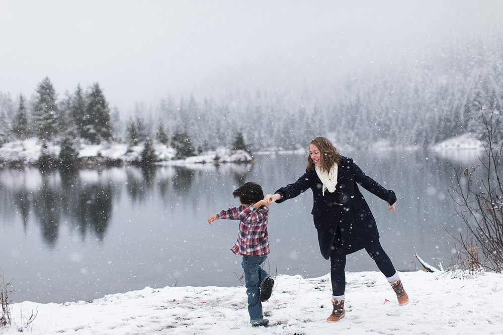 Moms Need to Get in the Photo, Neyssa Lee Photography, Seattle Family Photographer, Mother and Son  dancing in the snow