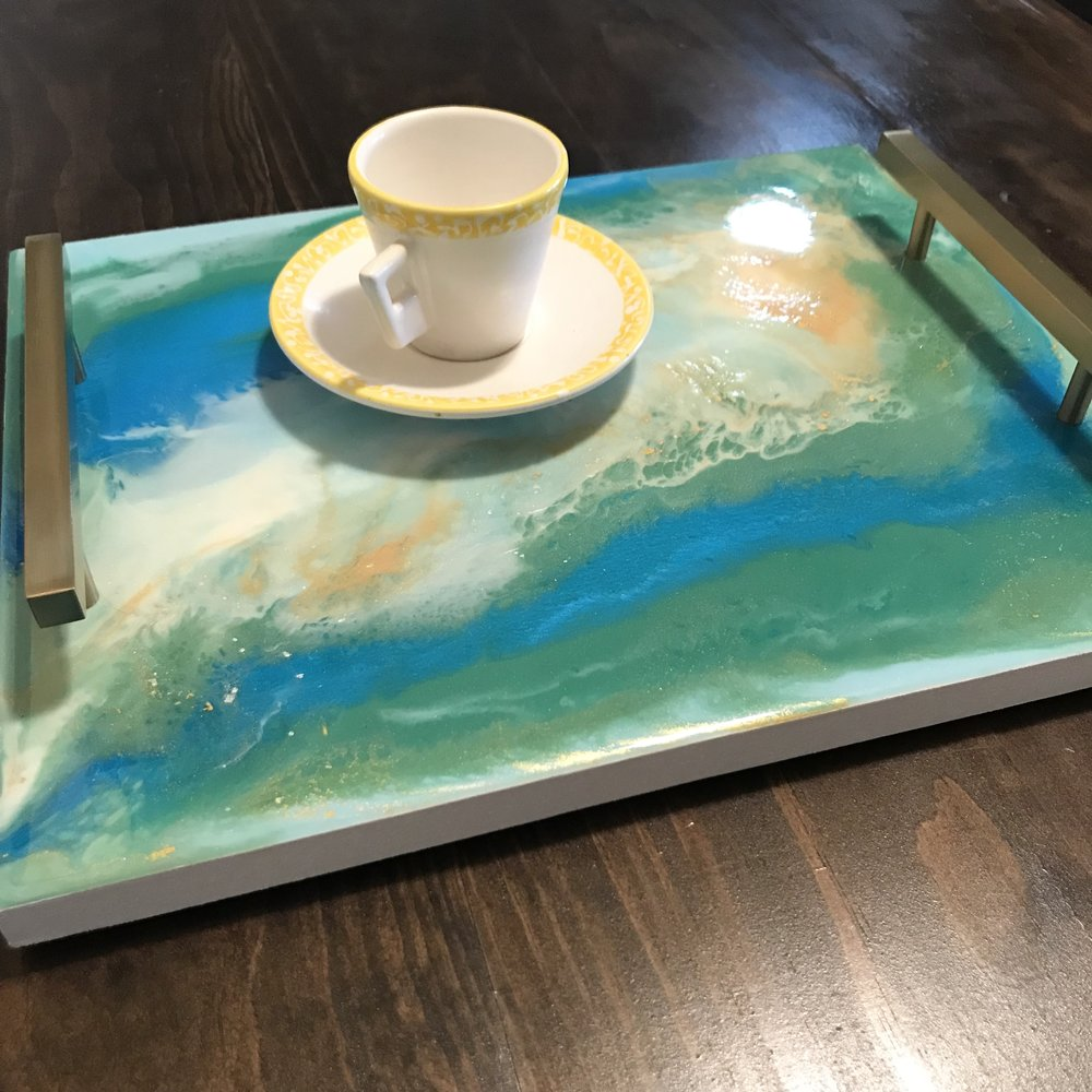 """10""""x12"""" resin & acrylic serving tray with brushed Champagne gold handles & rubber feet"""