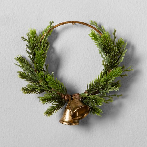 Artificial Pine Wreath with Bell