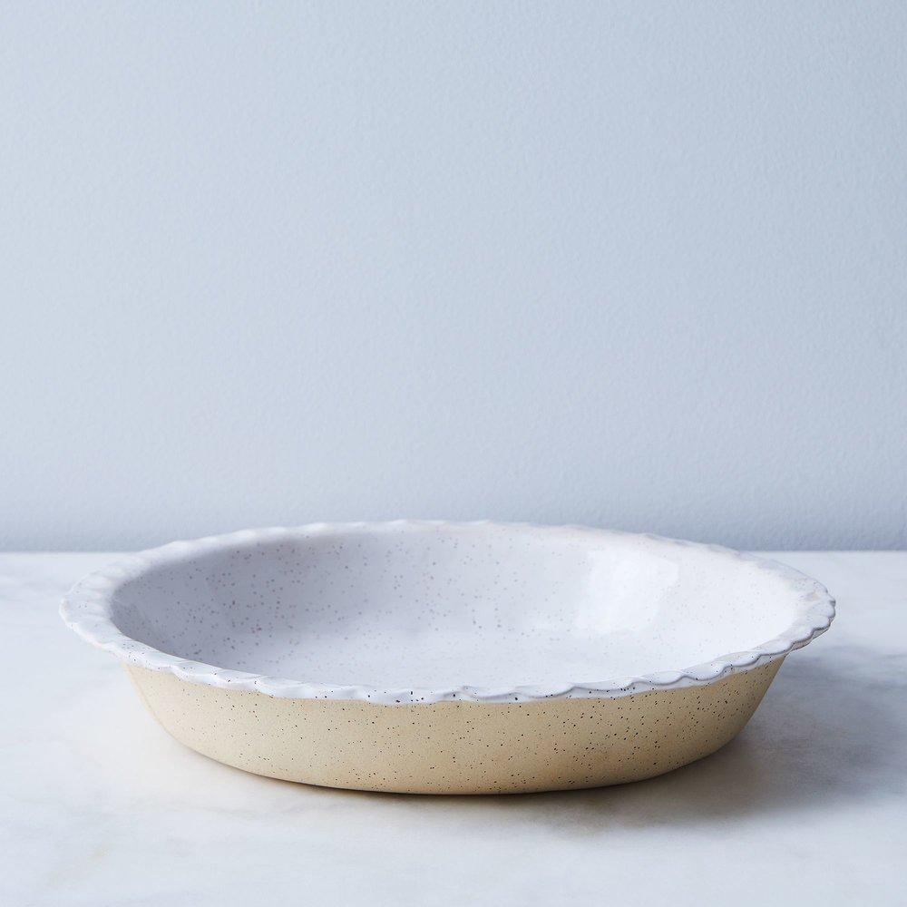 Speckled Ceramic Milk Pie Plate