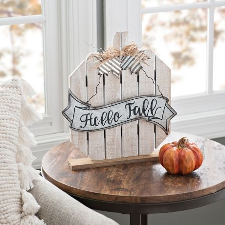 Cream Plank Pumpkin Tabletop Sign