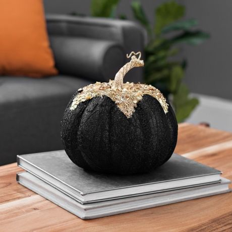 Black and Gold Glitter Pumpkin, 8 in.