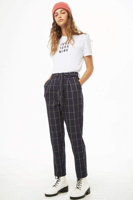 Belted Grid Print Pants