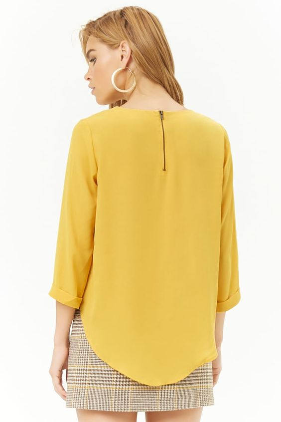 Curved Hem Chiffon Top