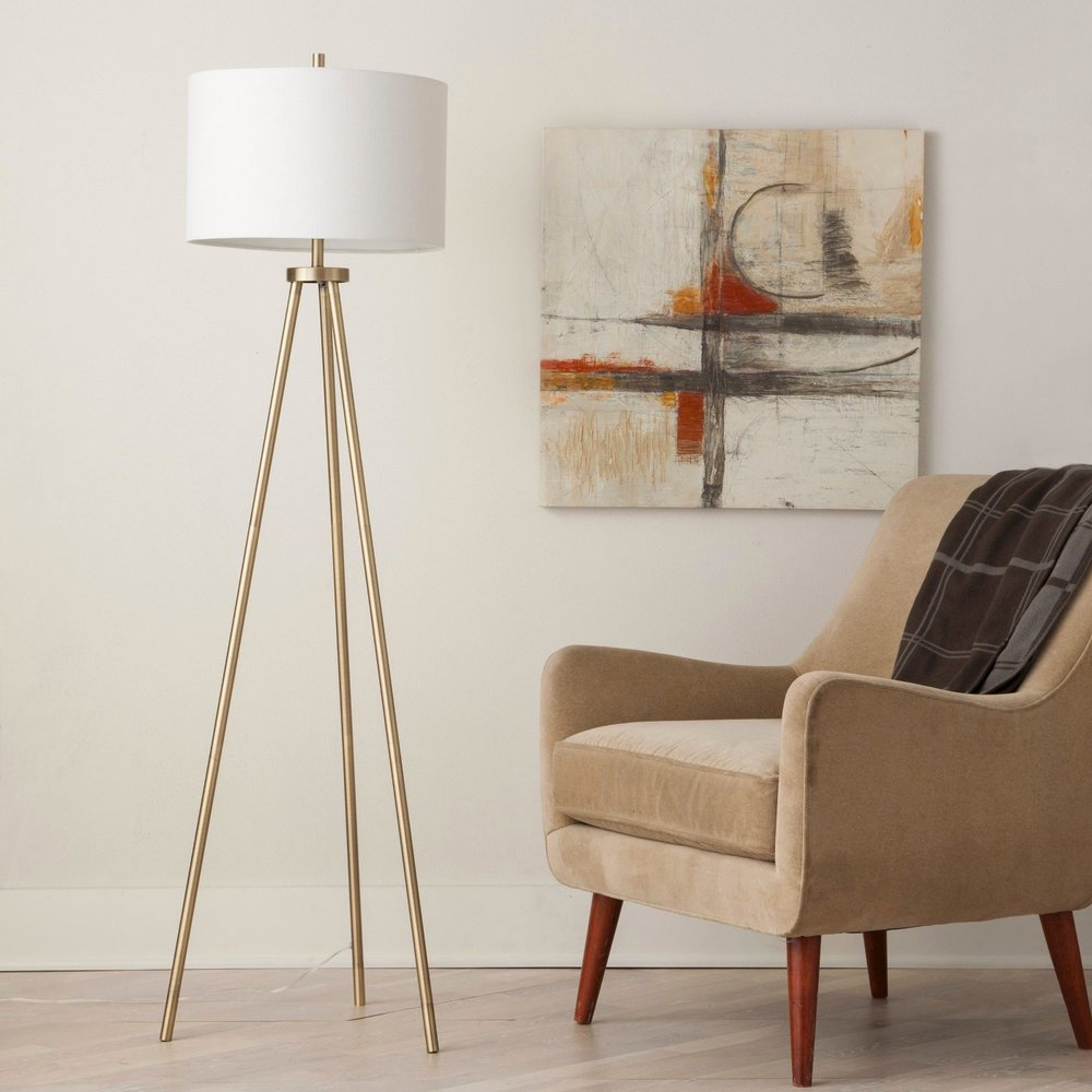 Ellis Tripod Floor Lamp Brass