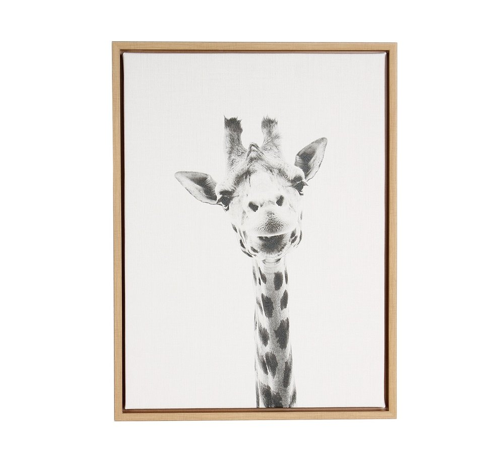 Giraffe Framed Canvas Art - Uniek