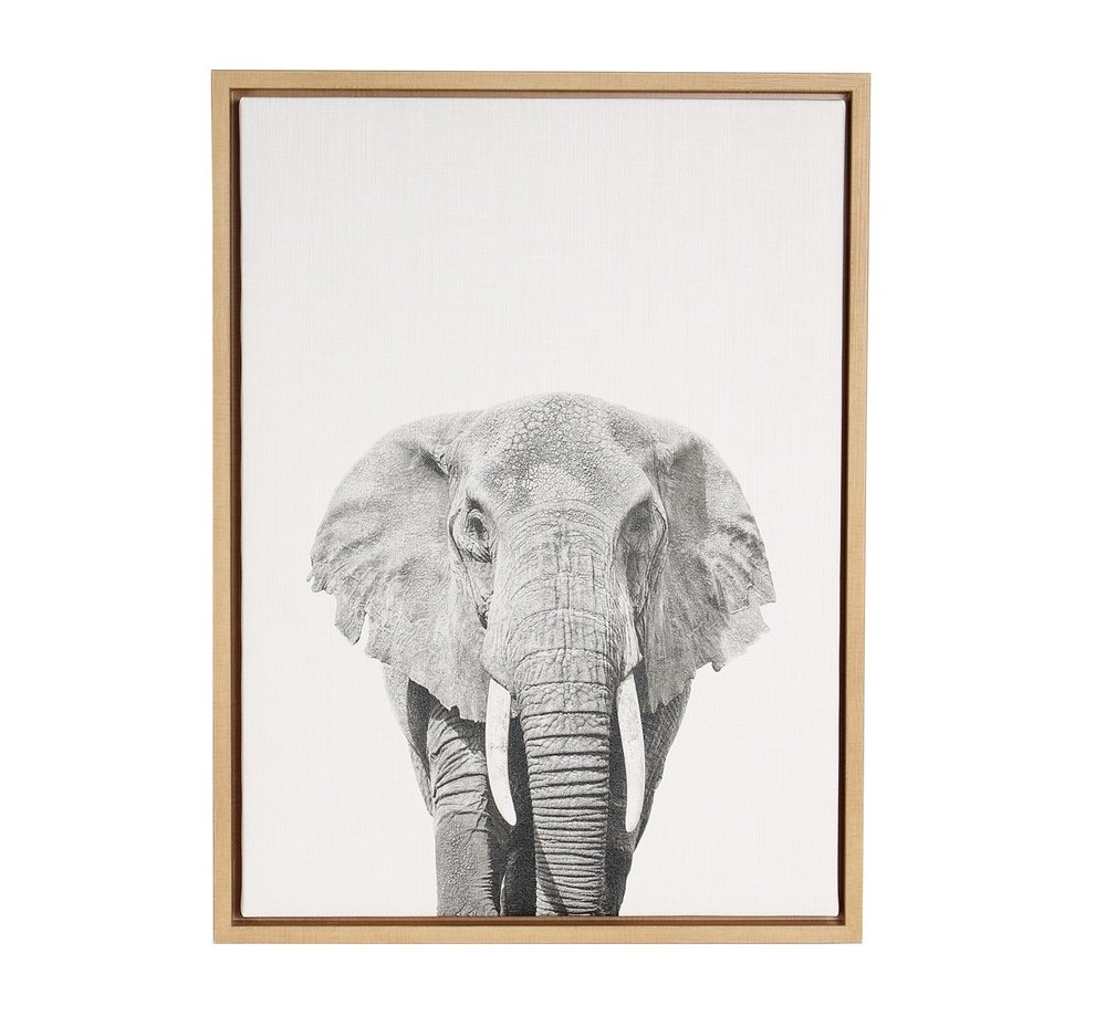 Elephant Framed Canvas Art - Uniek