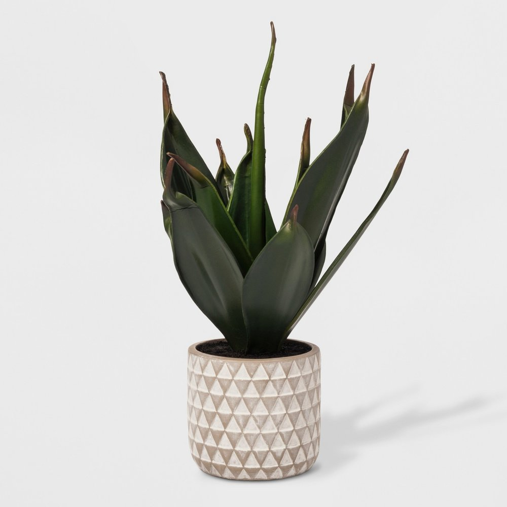 Faux Plant in Geometric Print Cement Pot